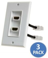 3x 2-Port HDMI Coupler Cover Audio Video HDTV Wall Plate Faceplate 4 inch Cable