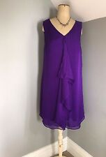 Phase Eight ~ 100% silk chiffon royal purple, cocktail / party dress ~ M 12 / 14