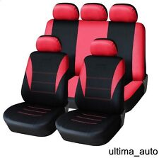 9 PCS FULL RED FABRIC SEAT COVERS SET PEUGEOT 206 207 307 308 407 406 MPV 3008