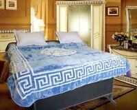 Luxury, Greek Border Style, King Size Soft MINK FAUX FUR BLANKET Bed Sofa Throw