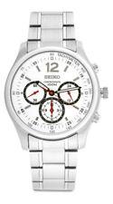 Seiko Chronograph SRW007 SRW007P1 Mens 24-Hour White Dial Stainless Steel Watch