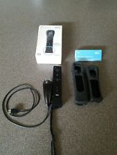 Wii Black Controller & Nunchuck with Motion Plus Adapter & Sleeve Nintendo OEM