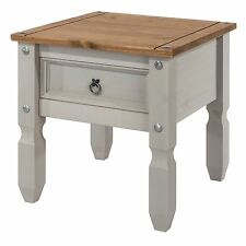 PREMIUM Corona Grey Washed-Effect Solid Pine 1 Drawer Lamp Table Side Table
