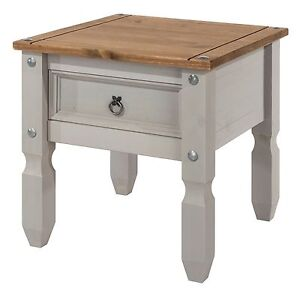 Premium Corona Grey 1 Drawer Side Lamp Table Solid Wood Pine Washed Effect