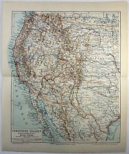 Original German 1890 Map of the Western USA by Meyers