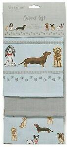 3er Set Geschirrtücher Küchentücher Curious Dogs Hundemotiv Baumwolle Cooksmart