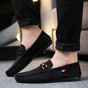 Men's Moccasin Suede Slip On Shoes Driving Boat Shoes Comfortable Loafers Shoes