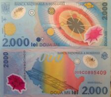 ROMANIA 1999 2000 LEI UNC POLYMER PLASTIC BANKNOTE P-111 BUY FROM A USA SELLER !