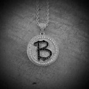 Brilliant Round Shape Rich Black Onyx & Shiny White CZ B Coin Hip-Hop Pendant