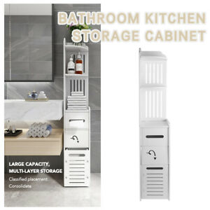 Bathroom Toilet Storage Cabinet Laundry Cupboard Standing Corner Assorted Shelf