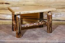 Small Log Footstool Amish Made Rustic Ottoman Wood Footrest for Rocking Chair
