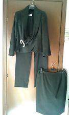 completo tailleur nero raso lucido elegante con strass pantalone-gonna tre pezzi