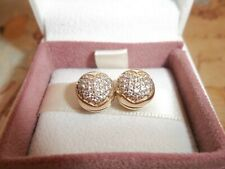 Genuine Authentic Pandora 14ct Gold Pave Heart Clip Charms PAIR 750832CZ
