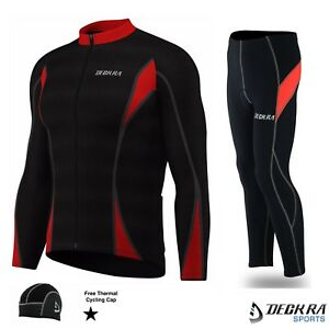 Deckra Mens Cycling Tight Pants and Jersey Full Sleeve Thermal Bicycle Tight Set