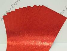 10 X Red Pearlescent Flower Paper Strips 1-sided (296x98mm) Am608