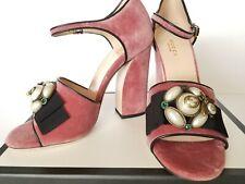 New Gucci Bee Embellished Bow Velvet Heel Ankle Strap Sandal Eur 39.5/US 9.5