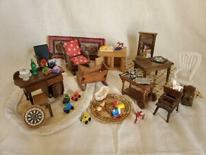 Vintage Wood Doll House Miniature Furniture Chairs Tables Desk Cradle Toys