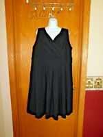 Lands End Women's Plus Sleeveless Fit and Flare Dress 1X 16W 18W  Black LE503