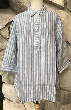 NWT J Jill Love Linen Women's Striped 3/4 Sleeve Partial Button Tunic Shirt 1X