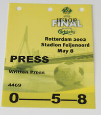 Ticket pass for collectors UEFA FINAL PRESS 2002 Feyenoord Borussia Dortmund BVB