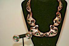 Vintage ANDREE BAZOT French Limoges Enamel on Copper Swirls Necklace Bracelet
