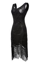 1920s Flapper Dress Vintage Gatsby Beaded Sequin Fringe Dress Art Deco (Medium)