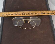 antique eyeglasses rimless 12k gf flexible bows 1940 original vg