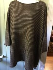 ESKANDAR O/S Boxy 100% Cashmere Drop Shoulder Brown Charcoal  Striped Sweater