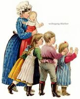 Vintage Victorian die cut paper scrap, Mother with the kids, from c. 1880