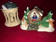 Cobblestone Corners Collectible Christmas Village Angel Gazebo 2004& 2002 Trees