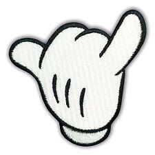 Mickey Disney White Hand Glove Embroidered Patch Iron Sew on Cartoon Kids Love