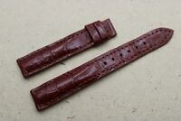16mm/14mm Genuine Alligator Crocodile Leather Watch Strap Band, Red Brown