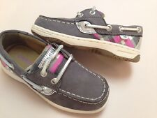 New Sperry Youth Girls grey leather Bluefish boat/deck shoe size 1