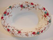 "MINTON ANCESTRAL 10 1/4"" VEGETABLE BOWL CRANBERRY TURQUOISE FLOWERS WHITE CHINA"