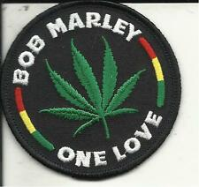 """BOB MARLEY """"ONE LOVE"""" LEAF EMBROIDERED PATCH 3 INCHES ROUND"""