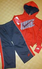 Nike NWT Boy size 24M Dark Grey and Orange 2 pc Pant/Zip Up Adorable Hoodie Set