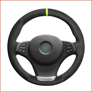 Black Suede Steering Wheel Cover for BMW E83 X3 2007 2008 2009 2010 E53 X5 G452