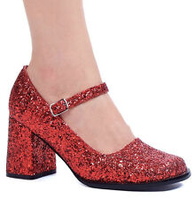 156a7a91bf0 Glitter PUMPS Ankle Strap Round Toe Mary Jane Mid HEELS Shoes Adult Women 9  Red
