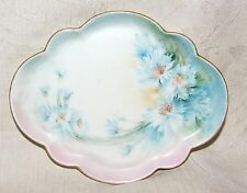 Antique 1900+ GDA Haviland France Limoges Pin Dish Hand Paint Asters Tray 8 Side