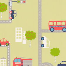 BOYS GREEN TRANSPORT CARS BUS ROAD MAP TEXTURED WALLPAPER A.S.CREATION 93632-2