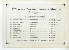 PHOTO ORIGINAL VINTAGE-G.P. AUTOMOBILE DE MONACO 1932-CLASSEMENT GENERAL IVe G.P