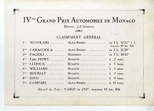 PHOTO ORIGINAL VINTAGE-G.P. AUTOMOBILE DE MONACO 1932-CLASSEMENT GENERAL IVe G.P
