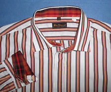 4 XL BEN SHERMAN ORANGE GRAY SHADOW STRIPE WHITE MENS SHIRT