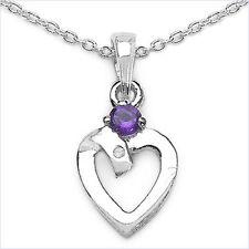 Collier mit Diamant/Amethyst/ Herz-Anhänger Rhodiniert