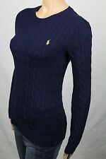 Ralph Lauren Large L Navy Blue Cable Knit Crewneck Sweater Neon Green Pony NWT