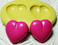 Silicone Resin Clay FIMO Fondant Flexible Push Mold PUFFY HEART DUO