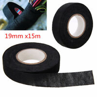 19mmx15M Self Adhesive Cloth Tape Cable Wiring Harness Black Automotive