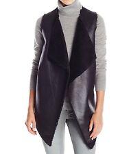 NEW Marc New York ANDREW MARC Sleeveless Faux Fur Vest Jacket Black sz Large