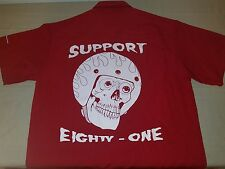 Hells Angels Rocky Mountain Support 81 Red and White Skull Button Up Shirt.