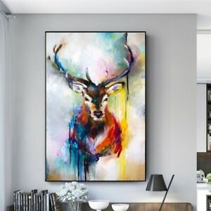 Nordic Deer Head Graffiti Wall Art Canvas Paintings Posters Prints Pictures Room